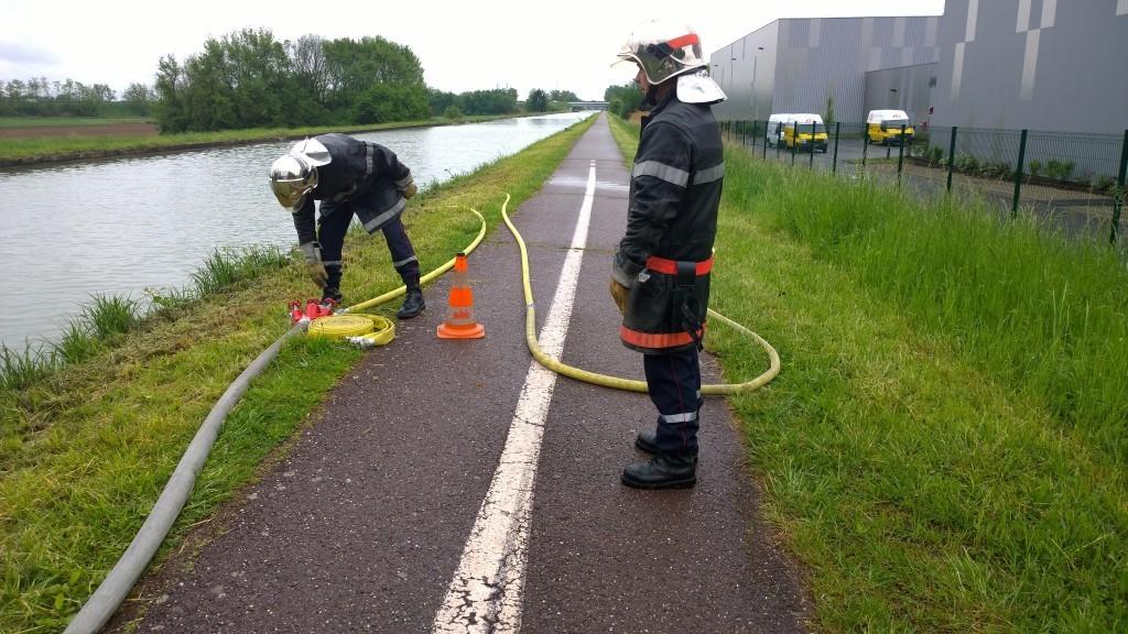 Manœuvre incendie au canal